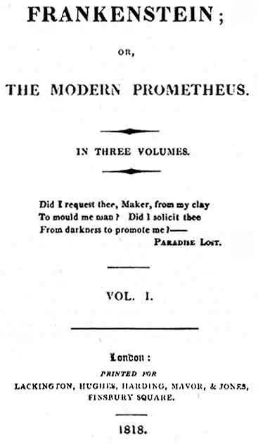 1818年版《弗兰肯斯坦》
